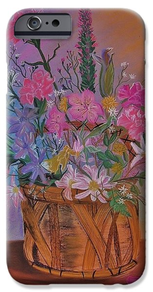 Basket Pastels iPhone Cases - Spring Flower Basket iPhone Case by Sharon Leigh