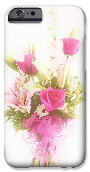 Botanical Pastels iPhone Cases - Spring flower Pastel Paint arrangement in Color 3176.02 iPhone Case by M K  Miller
