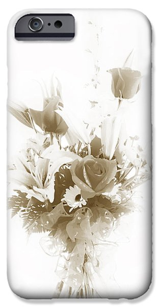 Botanical Pastels iPhone Cases - Spring flower Pastel Paint arrangement in Sepia 3176.01 iPhone Case by M K  Miller