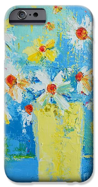 Interior Still Life iPhone Cases - Spring Flowers Daisies iPhone Case by Patricia Awapara
