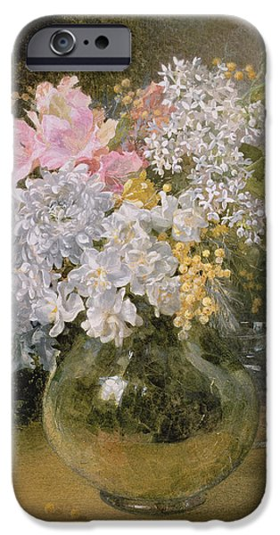 Chrysanthemum iPhone Cases - Spring Flowers In A Vase iPhone Case by Maud Naftel