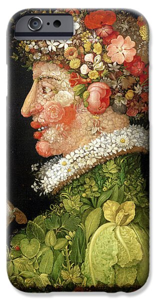 Face Photographs iPhone Cases - Spring, From A Series Depicting The Four Seasons, 1573 Oil On Canvas iPhone Case by Giuseppe Arcimboldo