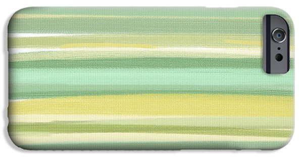 Green And Yellow Abstract iPhone Cases - Spring Green iPhone Case by Lourry Legarde