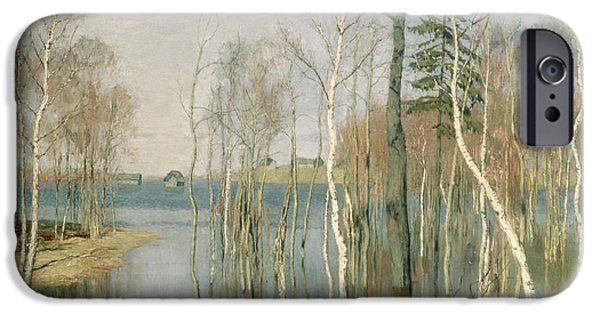 River iPhone Cases - Spring High Water iPhone Case by isaak Ilyich Levitan