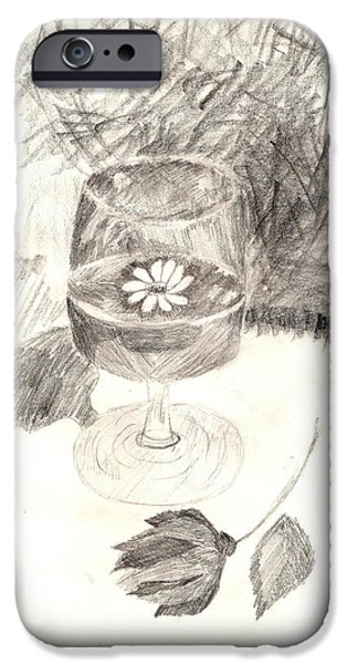 Table Wine Drawings iPhone Cases - Spring in a glass iPhone Case by Kelly Attoni