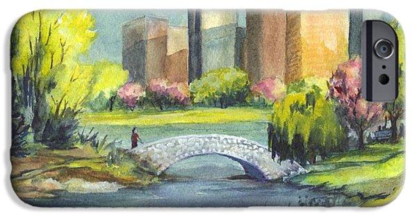 Park Scene Drawings iPhone Cases - Spring  in Central Park N Y C  iPhone Case by Carol Wisniewski