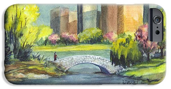 City Scape Drawings iPhone Cases - Spring  in Central Park N Y C  iPhone Case by Carol Wisniewski