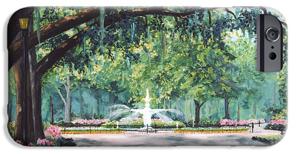 Savannah iPhone Cases - Spring In Forsythe Park iPhone Case by Stanton Allaben