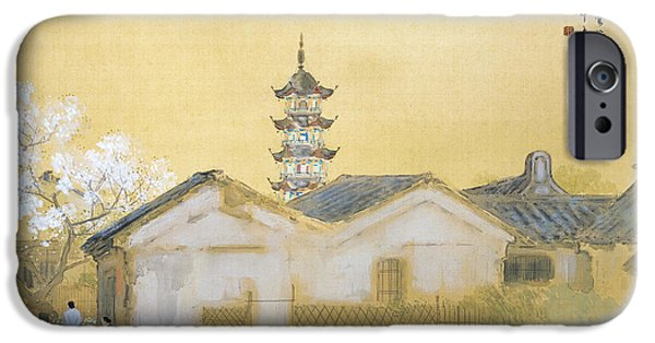 Japan Town iPhone Cases - Spring in Jiangnan iPhone Case by Takeuchi Seiho