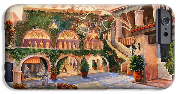 Sedona Paintings iPhone Cases - Spring In Tlaquepaque iPhone Case by Marilyn Smith