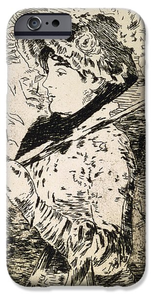 Female Drawings iPhone Cases - Spring   Jeanne iPhone Case by Edouard Manet