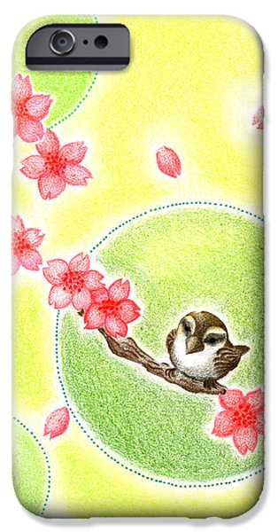 Cherry Blossoms Drawings iPhone Cases - Spring iPhone Case by Keiko Katsuta