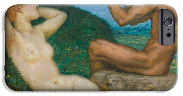 Muscle Paintings iPhone Cases - Spring Love iPhone Case by Franz Von Stuck