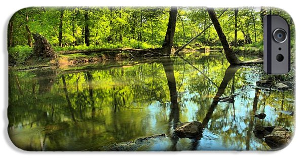 Indiana Springs iPhone Cases - Spring Mill Reflections iPhone Case by Adam Jewell
