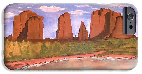 Oak Creek Paintings iPhone Cases - Spring Mist at Cathedral Rock Oak Creek Sedona iPhone Case by Cindy Micklos