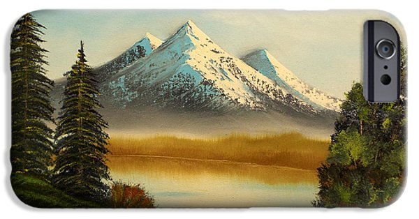 Bob Ross Paintings iPhone Cases - Spring Mountian iPhone Case by Joyce Krenson