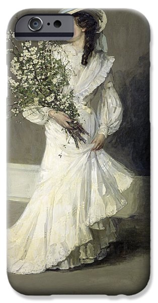 Bouquet iPhone Cases - Spring Oil On Canvas iPhone Case by Sir John Lavery
