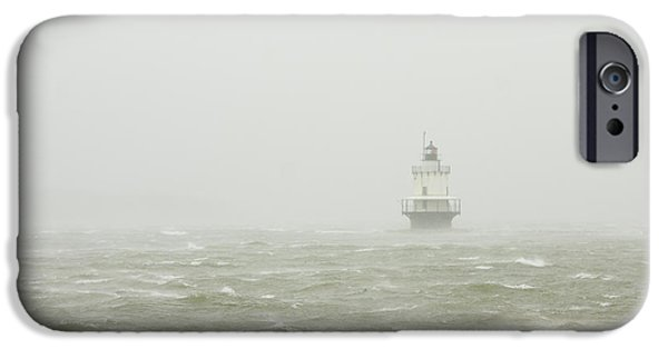 New England Lighthouse iPhone Cases - Spring Point Ledge Lighthouse in Storm in Portland Maine iPhone Case by Keith Webber Jr