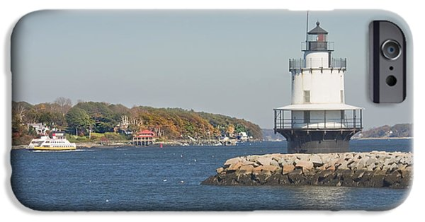 Rocky Maine Coast iPhone Cases - Spring Point Ledge Lighthouse on the Maine Coast iPhone Case by Keith Webber Jr
