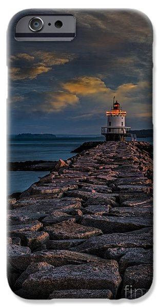 Maine iPhone Cases - Spring Point Ledge Lighthouse iPhone Case by Susan Candelario