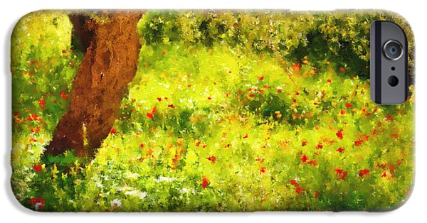 Poetic Mixed Media iPhone Cases - Spring Poppies Impressionism iPhone Case by Georgiana Romanovna
