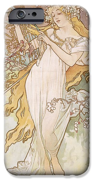 Flora Drawings iPhone Cases - Spring Printemps iPhone Case by Alphonse Marie Mucha