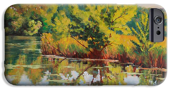 Willow Lake Paintings iPhone Cases - Spring Reflection iPhone Case by Keith Burgess