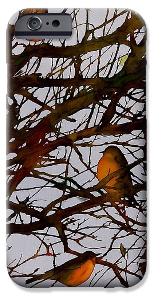 Birds Tapestries - Textiles iPhone Cases - Spring Robins Gather iPhone Case by Carolyn Doe