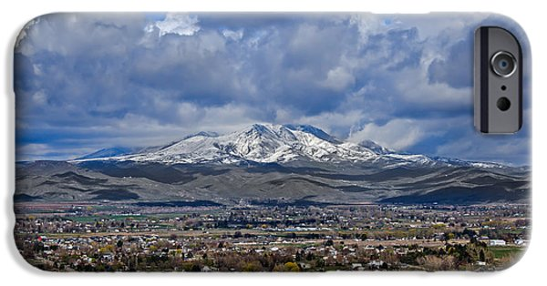 Emmett iPhone Cases - Spring Snow On Squaw Butte iPhone Case by Robert Bales