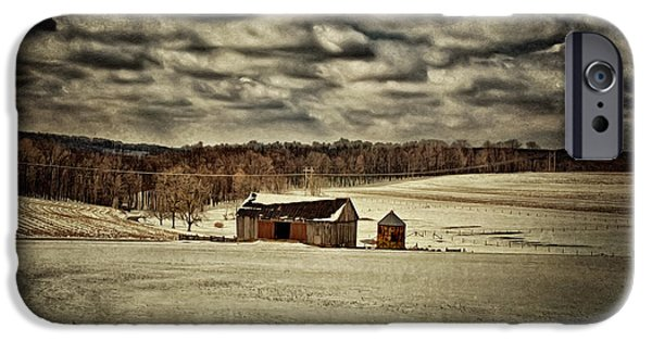 Barns In Snow iPhone Cases - Spring Snows iPhone Case by Lois Bryan