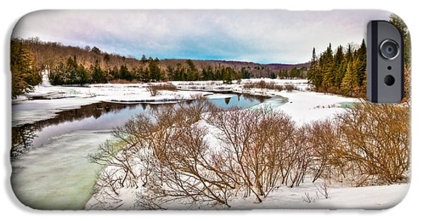 Snow Scene iPhone Cases - Spring Thaw at the Green Bridge iPhone Case by David Patterson