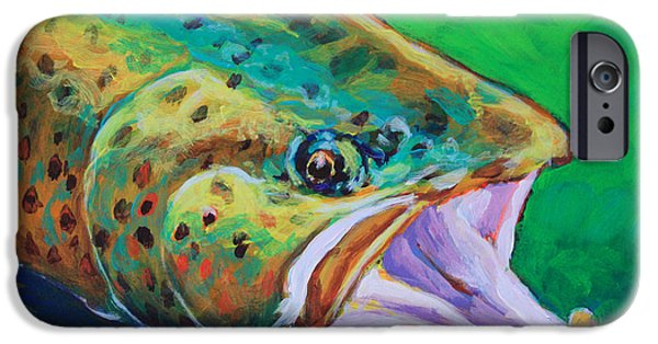 Trout Paintings iPhone Cases - Spring Time Brown Trout- Fly Fishing Art iPhone Case by Mike Savlen