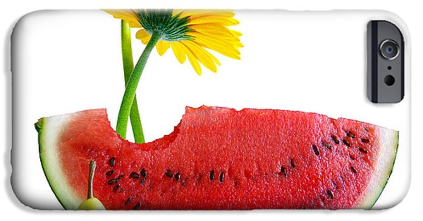 Biting iPhone Cases - Spring Watermelon iPhone Case by Carlos Caetano