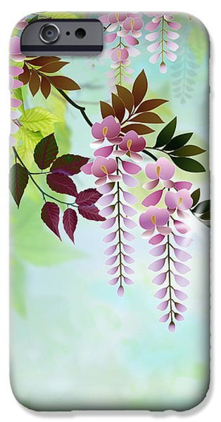 Graphic Design iPhone Cases - Spring Wisteria iPhone Case by Bedros Awak