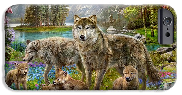 Harmonious iPhone Cases - Spring Wolf Family iPhone Case by Jan Patrik Krasny
