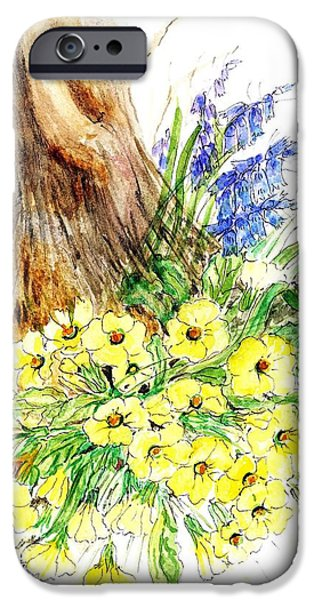 Primroses iPhone Cases - Spring Woodland Wc On Paper iPhone Case by Nell Hill