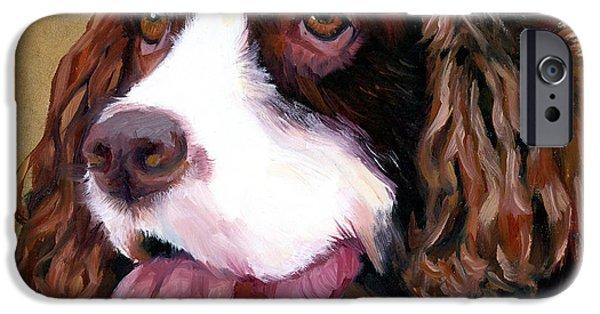 Springer Spaniel iPhone Cases - Springer Spaniel Dog iPhone Case by Alice Leggett