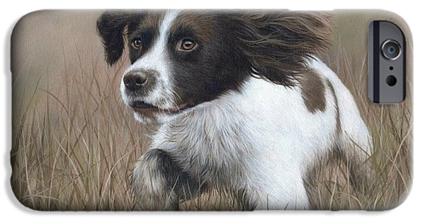 Working Dogs iPhone Cases - Springer Spaniel Painting iPhone Case by Rachel Stribbling