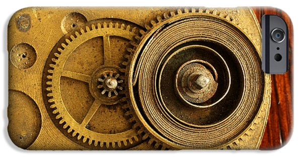 Watch Parts iPhone Cases - Springs and Gears iPhone Case by Adam Long