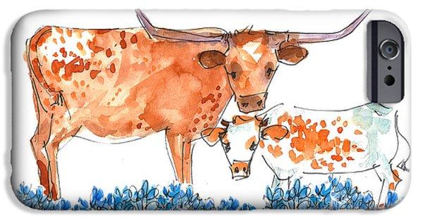 Texas Longhorn iPhone Cases - Springs Surprise Longhorns iPhone Case by Kathleen McElwaine