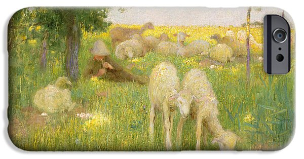 Sheep Paintings iPhone Cases - Springtime iPhone Case by Edward Stott