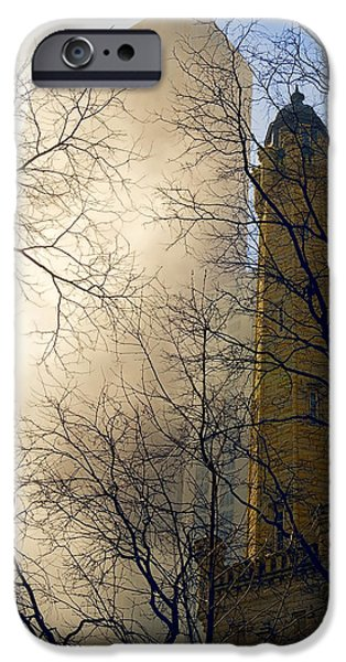 Old Chicago Water Tower iPhone Cases - Springtime in Chicago iPhone Case by Steven Sparks