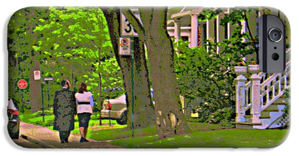 Outremont iPhone Cases - Springtime Stroll Through Beautiful Tree Lined Outremont Montreal Street Scene Art By Carole Spandau iPhone Case by Carole Spandau
