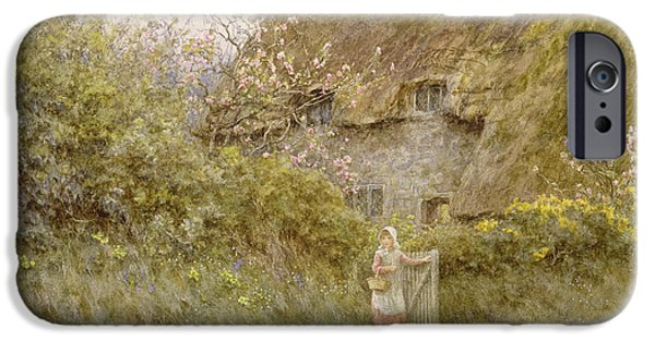 Basket iPhone Cases - Springtime Wc On Paper iPhone Case by Helen Allingham