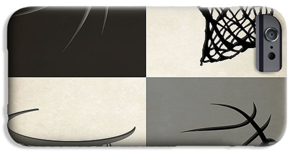 Dunk iPhone Cases - Spurs Ball And Hoop iPhone Case by Joe Hamilton