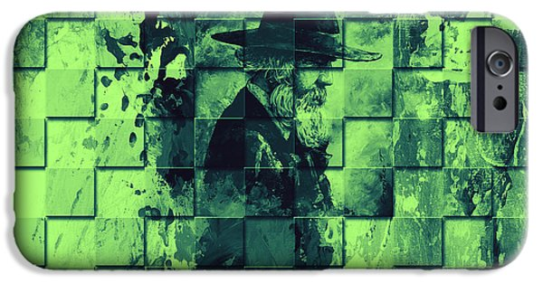 Old Man Digital iPhone Cases - Square mania - Old Man - limeblue iPhone Case by Emerico Imre Toth