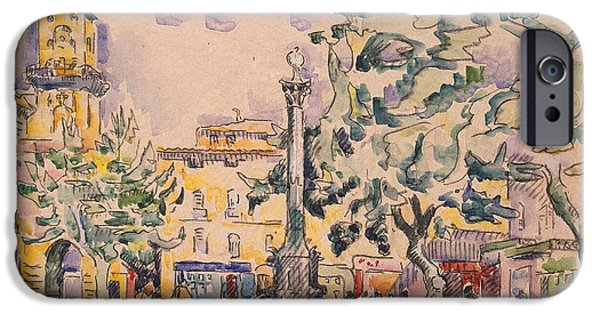 Signed Drawings iPhone Cases - Square of the Hotel de Ville iPhone Case by Paul Signac