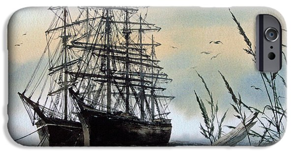Tall Ship iPhone Cases - Squarerigger Cove iPhone Case by James Williamson