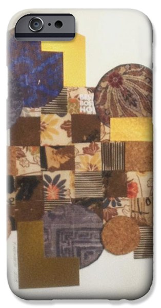 Abstract Collage Drawings iPhone Cases - Squares and Circles iPhone Case by Paul Meinerth