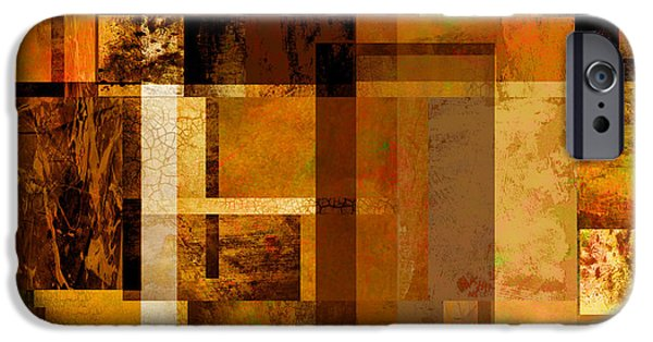 Abstract Digital iPhone Cases - Squares and Rectangles iPhone Case by Ann Powell